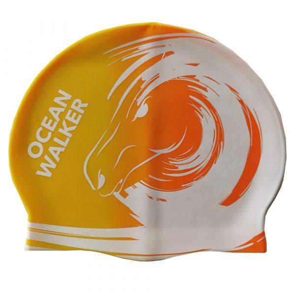Ocean Walker yellow orange swim cap
